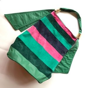 FARM Rio Anthro Green Pink Pieced Suede Tote Hobo